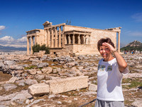 Too much sun for Edie in front of the temple of Athena Nike. No, not the shoe company!